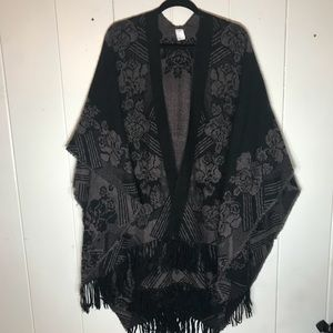 Woven Black and Brown Fringe Shawl